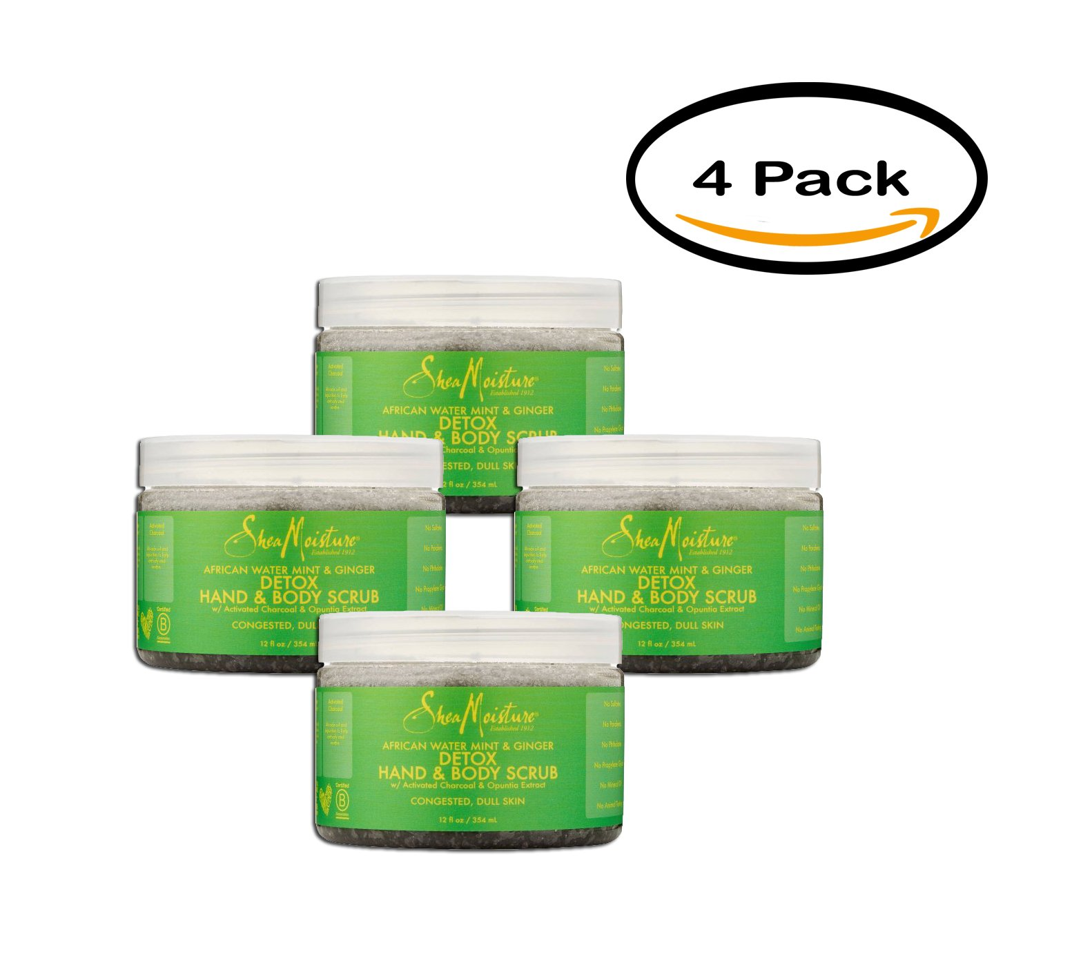 PACK OF 4 - SheaMoisture African Water Hand & Body Scrub, Mint & Ginger, 12 fl oz