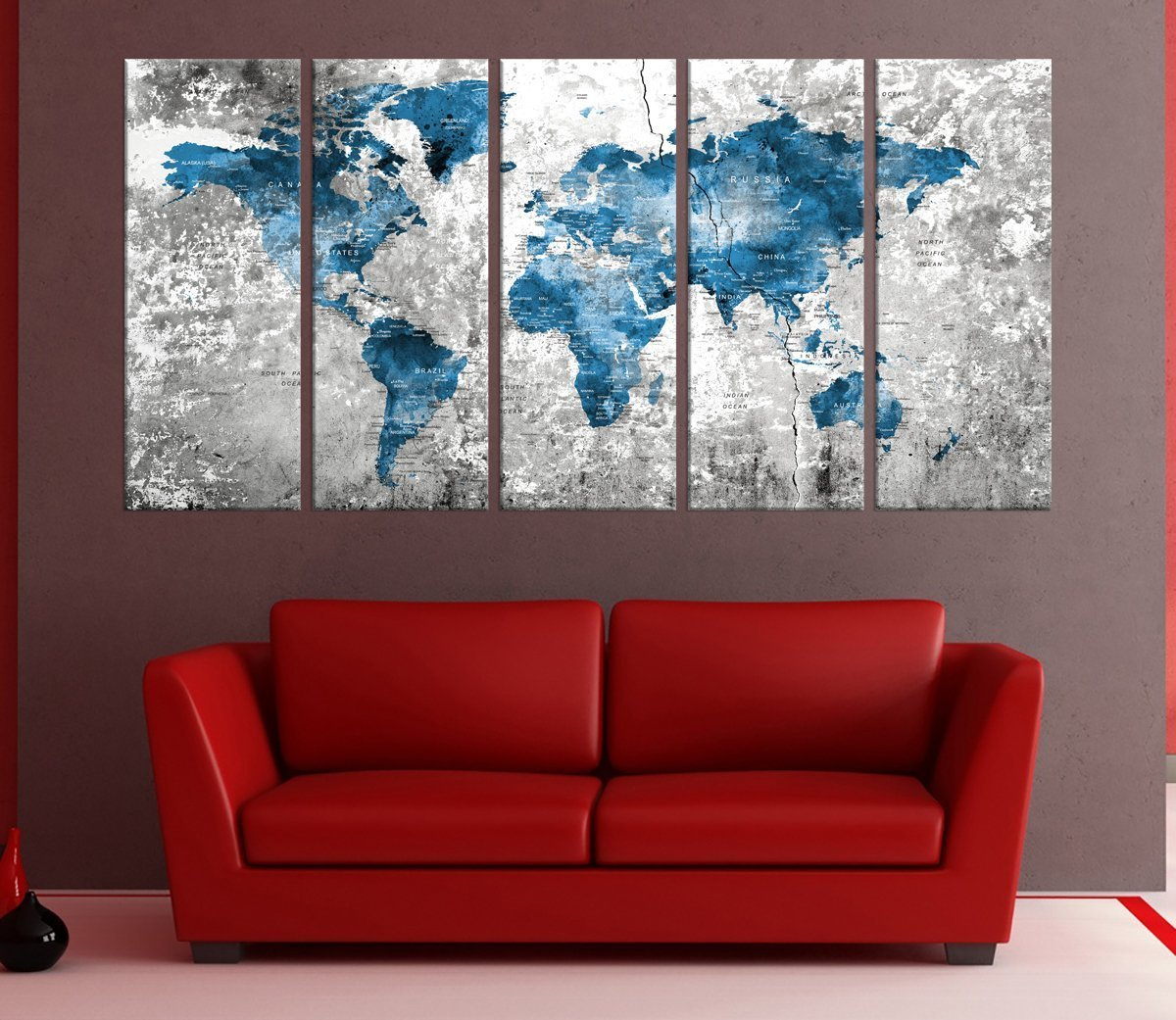 Amazon.com: Blue Push Pin Wolrd Map Wall Art Framed, 5 Panel ...
