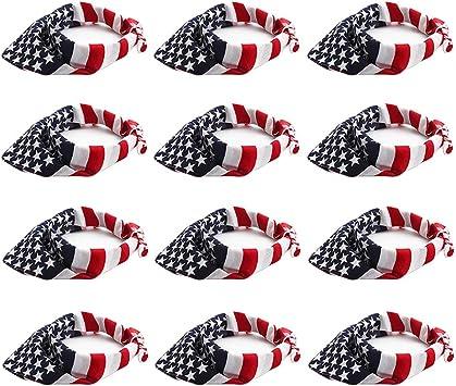 12 bandanas de bandera estadounidense 100% algodón bandana pañuelo ...