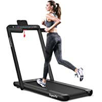 Goplus 2 in 1 Folding Treadmill with Dual Display, 2.25HP Under Desk Electric Pad Treadmill, Installation-Free…
