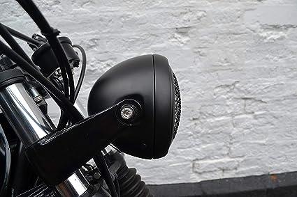 Schwarz Motorrad 6 Scheinwerfer Mit Netz Grill H4 55w Für Projekt Fahrrad Cafe Racer Scrambler Auto