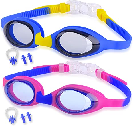 Anti-Fog UV Protection Children and Early Teens from 3 to 15 Years Old COOLOO Kids Swim Goggles Swimming Goggles for Kids Waterproof 2 Pack Toddler