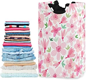 visesunny Collapsible Laundry Basket Pink Cherry Blossom Floral Large Laundry Hamper with Handle Toys and Clothing Organization for Bathroom, Bedroom, Home, Dorm, Travel
