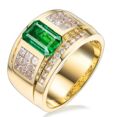 9d08d554b859c Lanmi Glorious Men's Jewelry 1.88ct Genuine Emerald Rings Solid 18kt Yellow  Gold 1.45ct Natural Diamonds Engagement Band