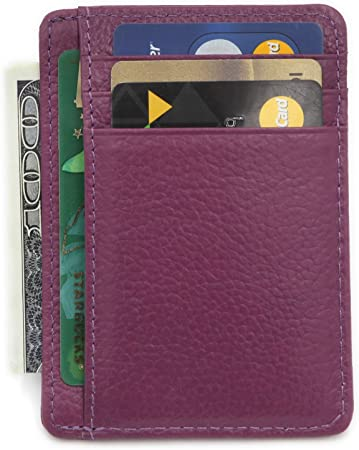 Zhoma RFID Blocking Genuine Leather Minimalist Front Pocket Wallet Credit Card Holder with ID Window