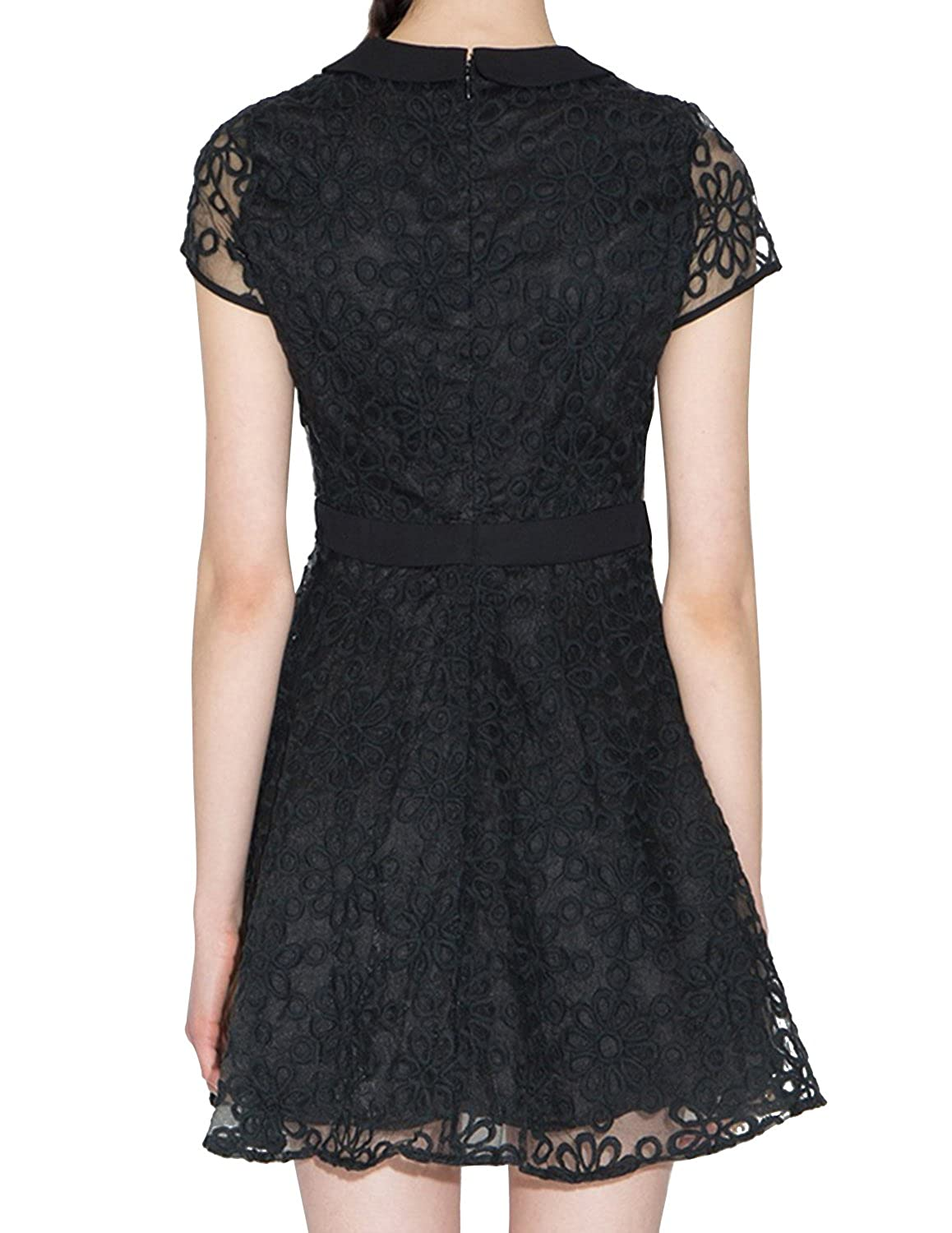 Amazon.com: HaoDuoYi Womens Vintage Sheer Lace Hollow Out A-Line Cocktail Party Mini Dress: Clothing