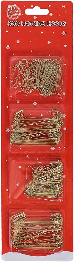 300*Silver Metal Tree Hooks  Wire Christmas Ornament Baubles Hanging Hangers Bea