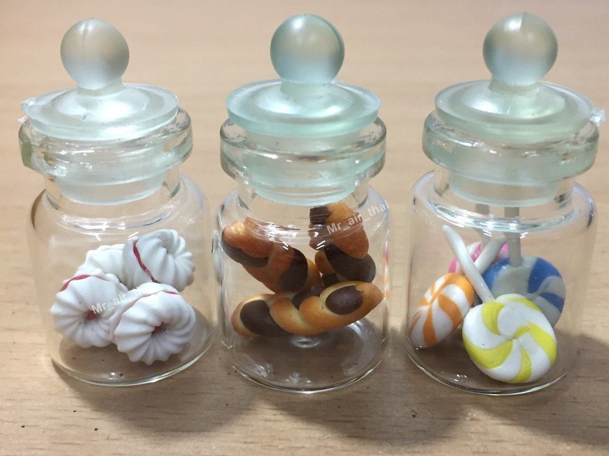 3pc Miniature Food Chocolate Cookie Cake Candy Dollhouse Donut in Clear Glass Mini Bottle fruit Food #MF058