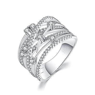 057111c75a58 JewelryPalace Mujeres de lujo ronda cúbicos Zirconia Anillo de cóctel de  banda ancha de plata de ley 925  Amazon.es  Joyería