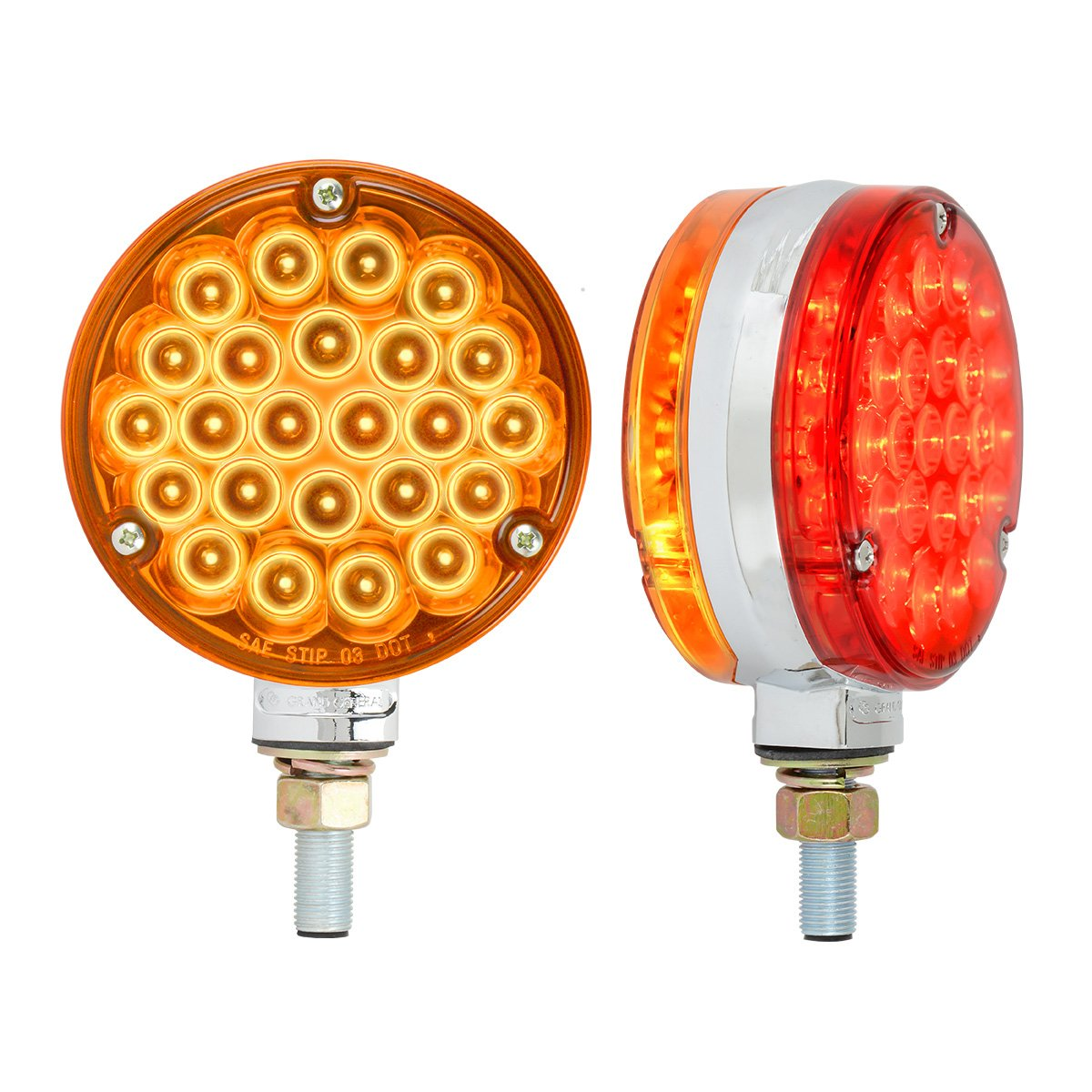 GG Grand General Grand General 78375 4'' Double Faced Pearl 48 LED Sealed Light with Amber/Red Lens in Twin Pack by GG Grand General