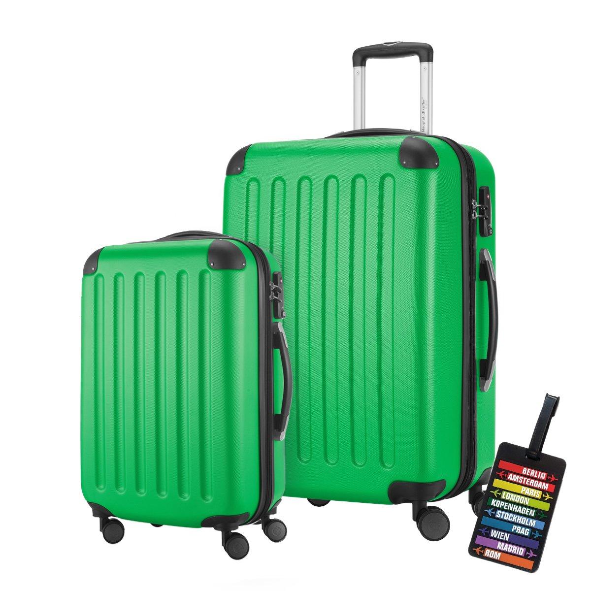 HAUPTSTADTKOFFER® · 2er Hartschalen Kofferset · Modell: SPREE · Handgepäck 49 Liter + Reisekoffer 82 Liter · in verschiedenen Farben + DESIGN KOFFERANHÄNGER (Apfelgrün) HK1203-AG-49+82