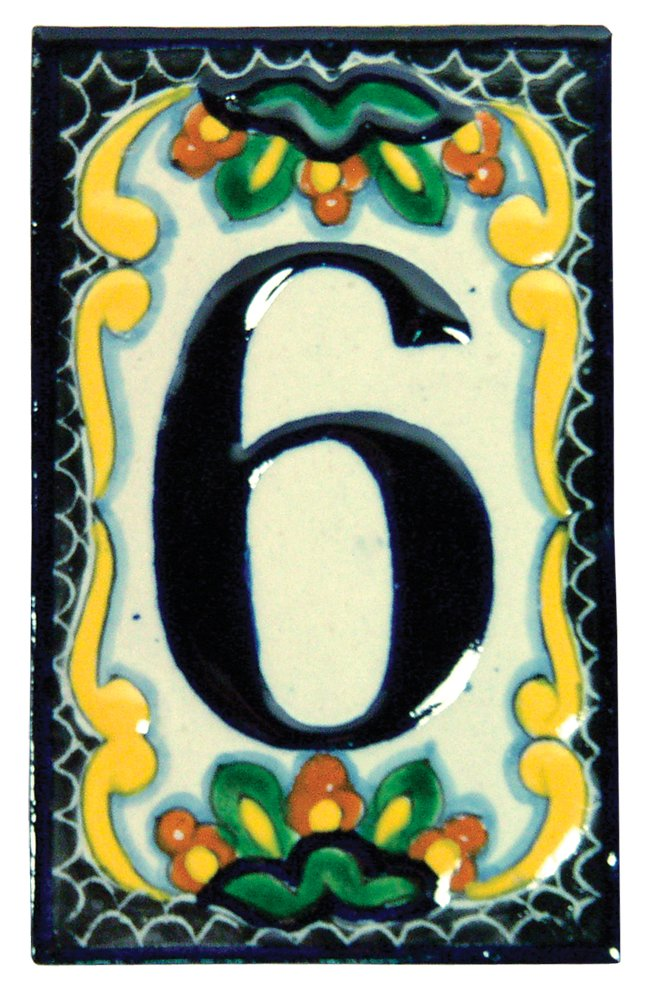 Hand Painted House Number '0' in Zinnia Number: 6