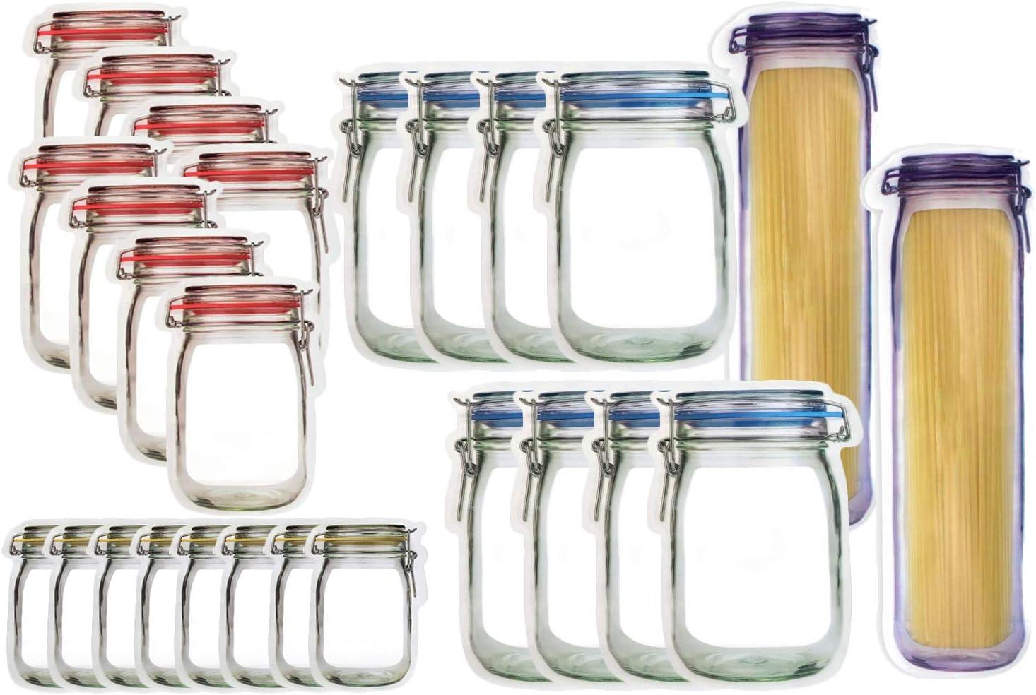 JOERSH 26PCS Mason Jar Bottles Bags Reusable Stand-Up Ziplock Food Snack Storage Bags Fresh Sealed Bags for Kitchen Camping Picnic Organizer Travel Camping (S/M/L/Xl)