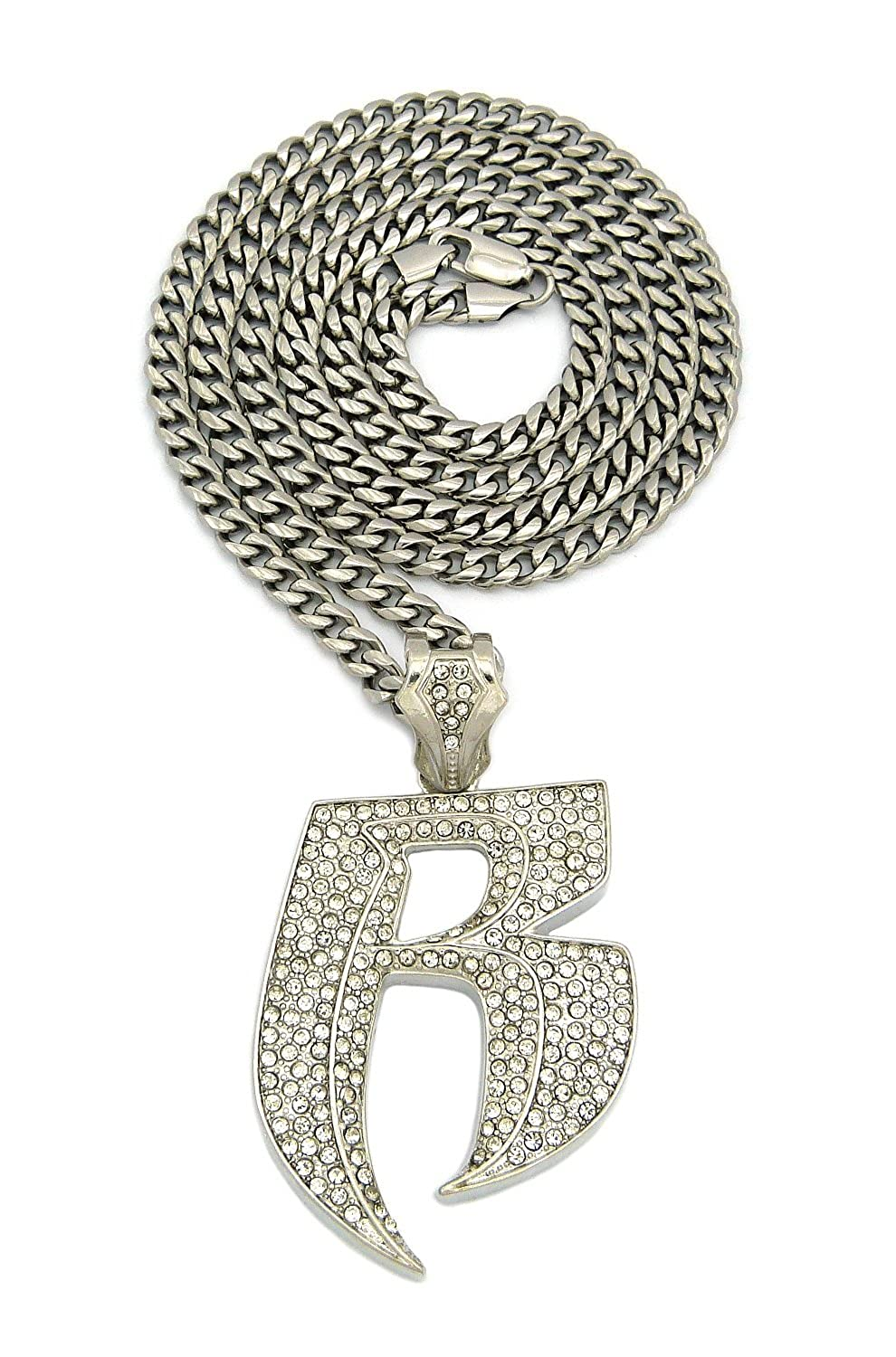 New Iced Out RUFF RYDERS R Pendant /&36 Stainless Steel Chain Necklace RC172SS