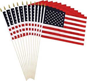 Anley Pack of 12 USA Stick Flag - 18