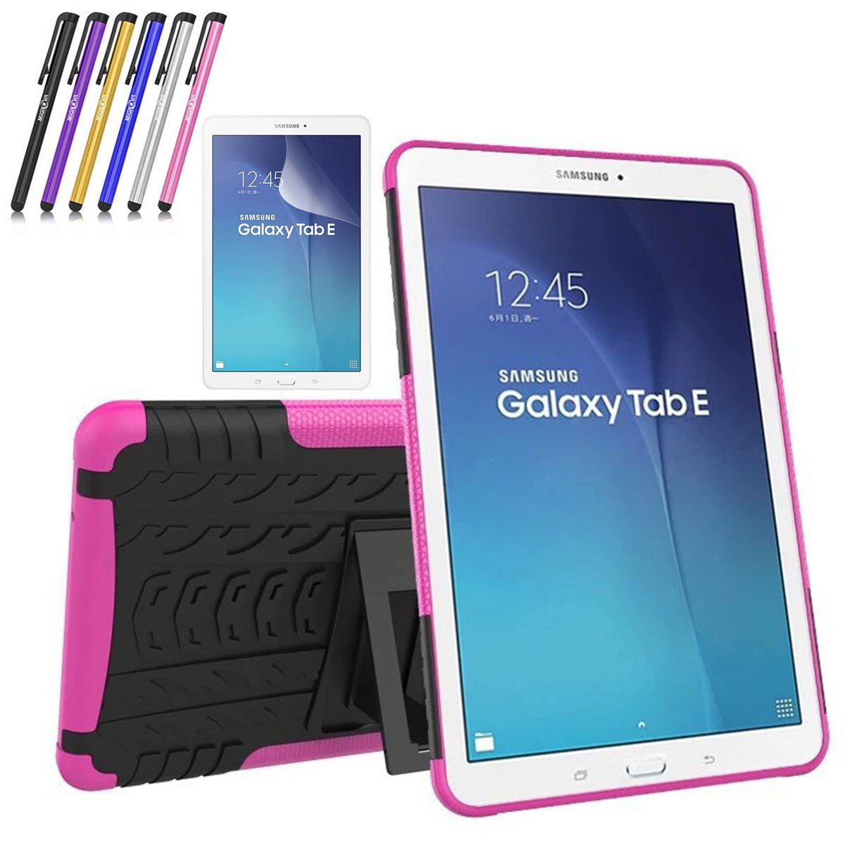 Galaxy Tab E 9.6 Case, Windrew Heavy Duty Hybrid Protective Case with Kickstand Impact Resistant for Samsung Galaxy Tab E 9.6' inch SM-T560 + Screen Protector Film and Stylus Pen (Black) GTE96-113