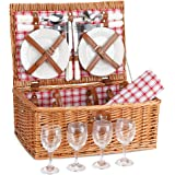 G GOOD GAIN Picnic Basket Set | 4 Person Picnic Hamper | Wicker Picnic Basket for 4 | Picnic Set for 4 | Willow Hamper…
