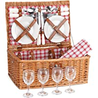 G GOOD GAIN Picnic Basket Set | 4 Person Picnic Hamper | Wicker Picnic Basket for 4 | Picnic Set for 4 | Willow Hamper Service Gift Set with Waterproof Picnic Blanket for Family Outdoor Camping Party