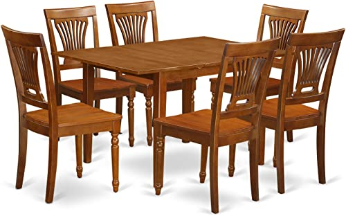MLPL7-SBR-W 7 Pc Kitchen nook Dining set-Kitchen Table 6 Chairs for Dining room