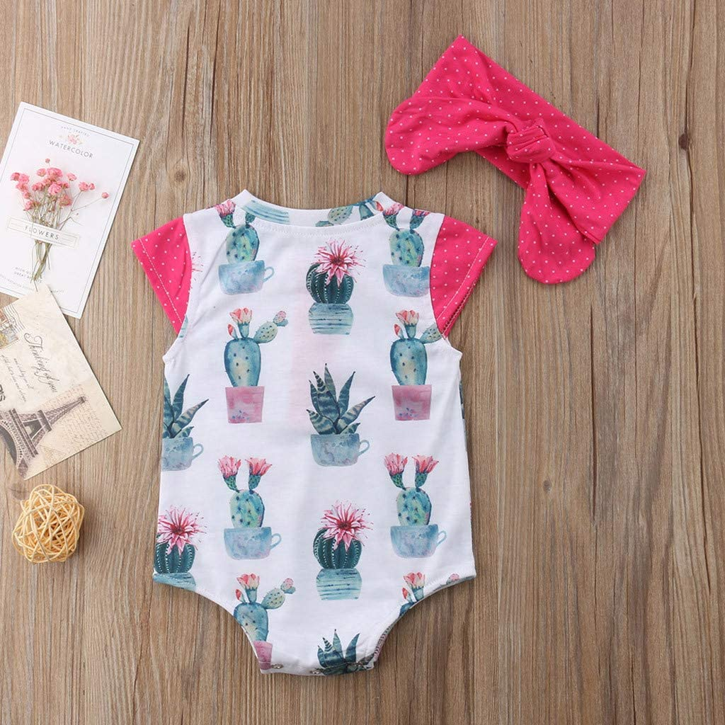Girl Jumpsuit Bodysuit Headband Outfit Set Infant Printed Romper 2019 Fyhuzp 2PCS Newborn Baby Romper