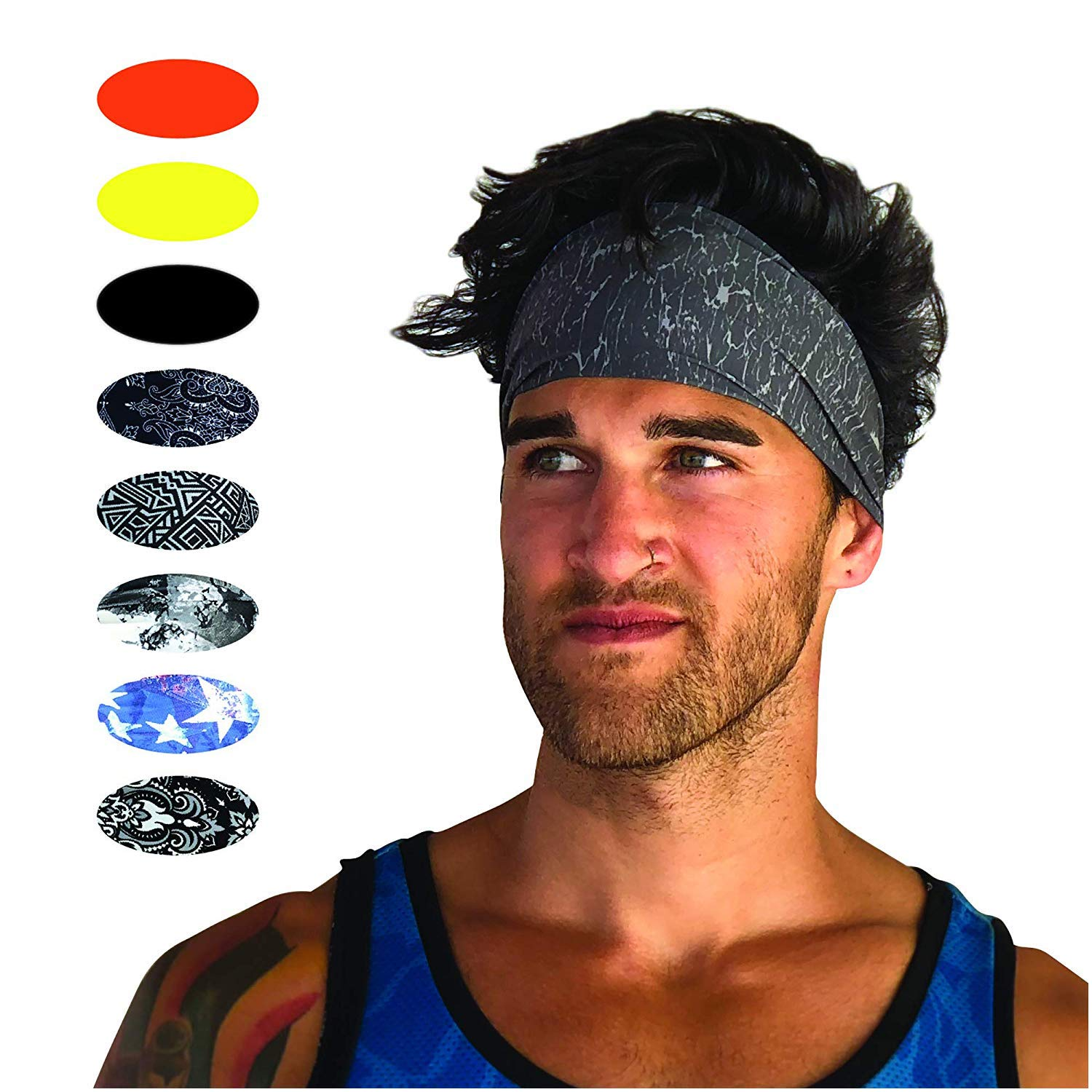 Cooling Headbands Moisture Wicking Womens Sweatband & Sports Headband | Workouts Cardio Running Yoga (Grit Gray)