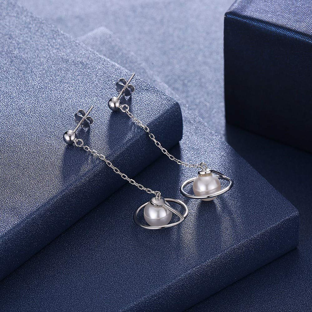 MELODY S925 Sterling Silver Original Ladies Long Pearl Earrings Hypoallergenic Fashion Jewelry For Women Girls With Gift Box