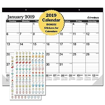 Calendario mensual 2018-2019 para escritorio, para colgar en la pared o para escritorio, con calendario gigante de 45 x 34 cm: Amazon.es: Oficina y ...