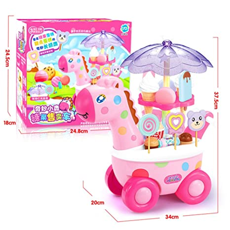 Yiwa Simulación Carritos pequeños Chica Caramelo Mini Tienda de Helados Supermercado Juguetes para niños Jugar en