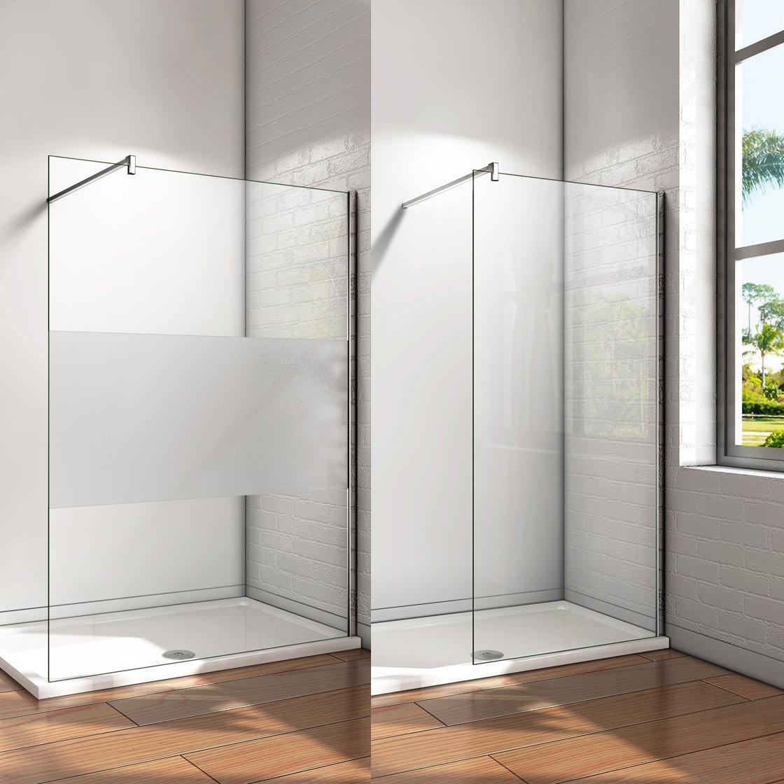 Mampara ducha Panel Pantalla Fija cristal 10mm templado para ba/ño Barra 140cm 130x200cm
