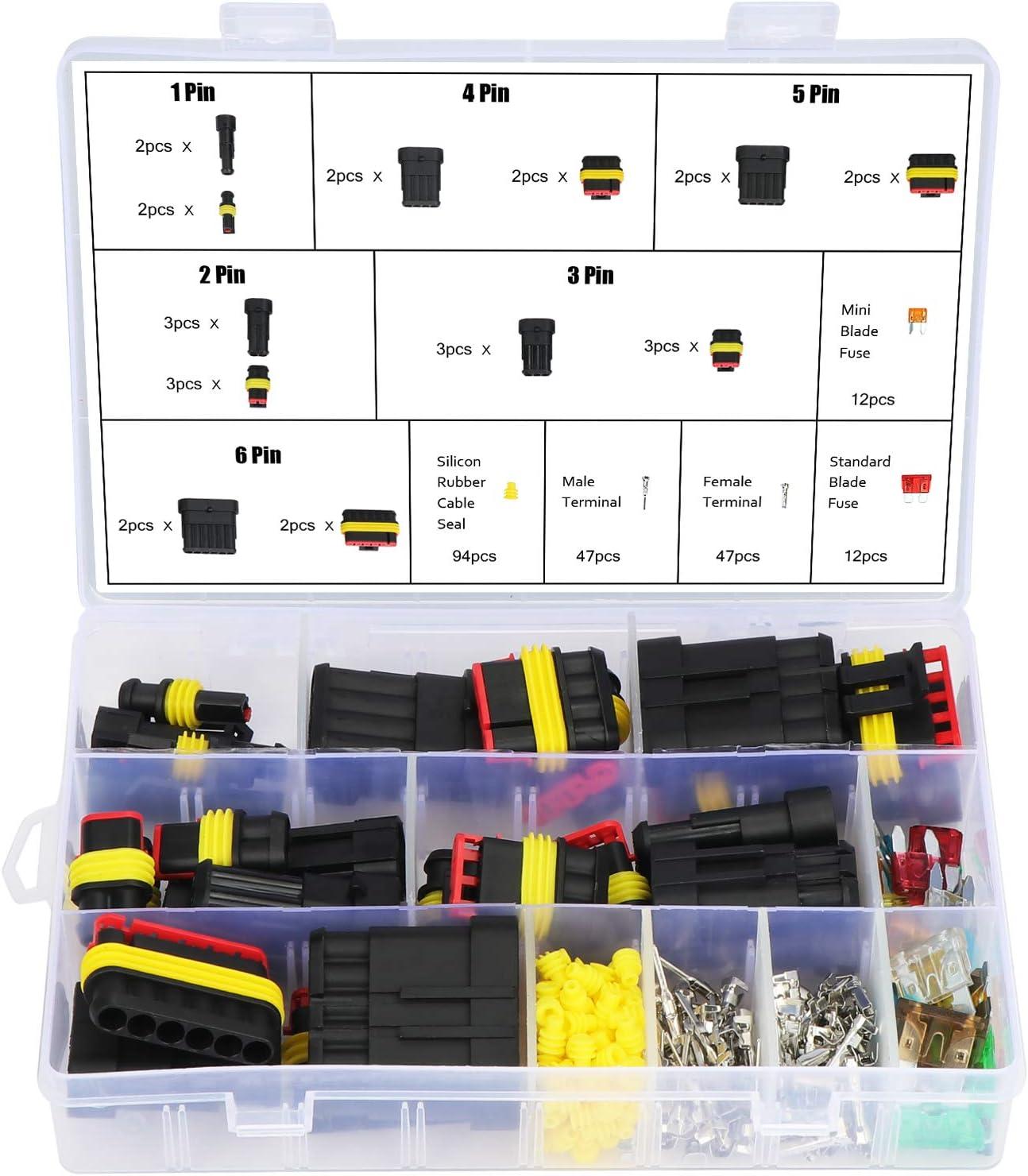 Waterproof 1//2//3//4//5//6 Pin Way Autos Electrical Connectors Terminal+Box US Stock
