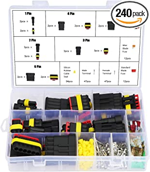 1 2 3 4 5 6 Pin// Way Car Motorcycle Waterproof Electrical Wire Connector Terminal Assortment Box Kit with Blade Fuses 240PCS