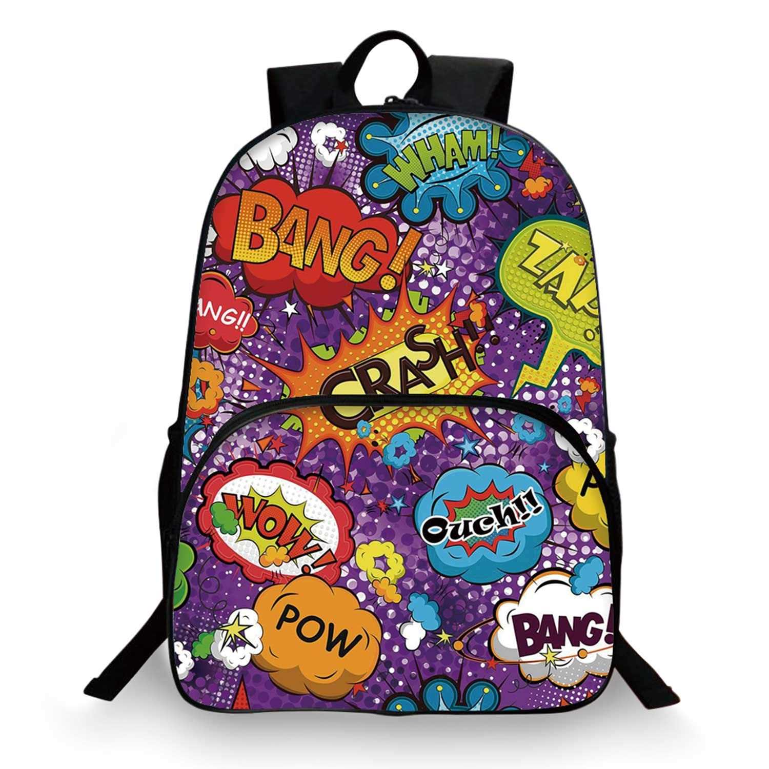 Retro Various Schoolbag,Comic Book Style Speech Bubbles Explosion Boom Blast Effects Humorous Fun Pop Art for student,11''Lx6''Wx15''H by C COABALLA