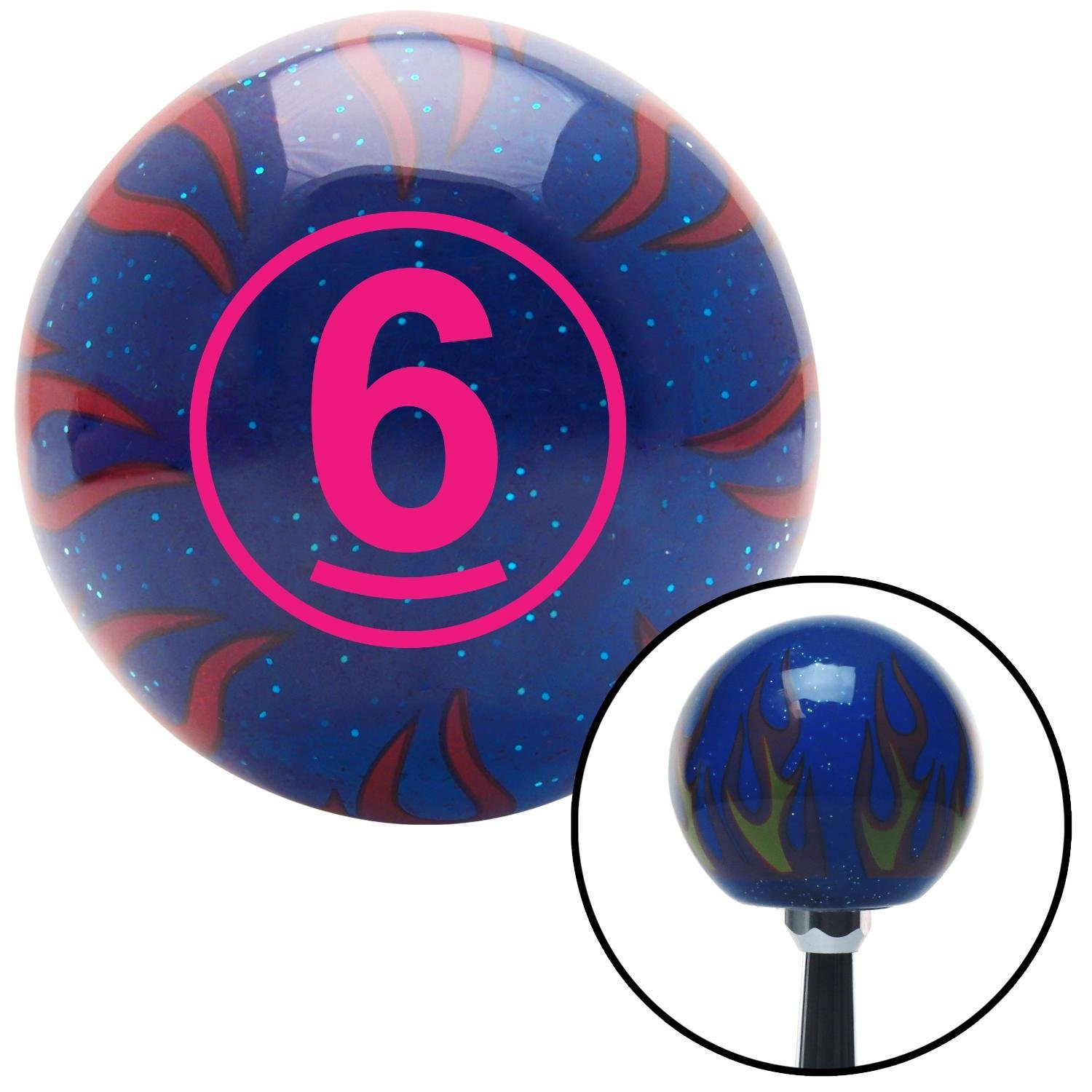 American Shifter 244550 Blue Flame Metal Flake Shift Knob with M16 x 1.5 Insert Pink Ball #6