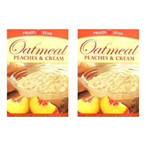 Healthwise - Peaches & Cream Oatmeal (2 Pack) - High Protein, Low Calorie, Low Sugar, 7 Servings Per Box