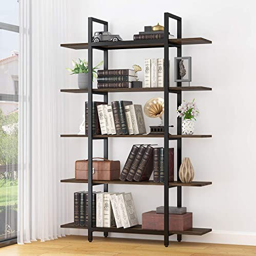 Elegant 5-Tier Bookshelf,Vintage Industrial Style Bookshelf, Wood and Metal Bookcase,71 Hx13 Wx47 L, Oak Brown