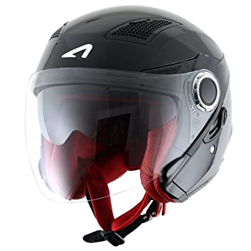 Astone Helmets fibra, Casco Jet, color Gloss Negro, talla XXL