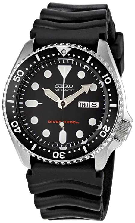 Amazon Com Seiko Men S Automatic Analogue Watch With Rubber Strap