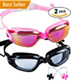 SBORTI Swim Goggles 2 Pack Swimming Goggles for Adult Women Men Youth,No Leaking,Anti Fog,UV Protection Swim Glasses Water Goggles