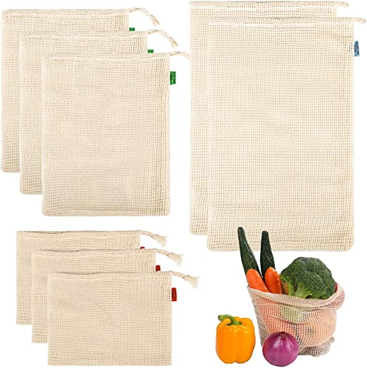Aweisile 8 piezas Bolsas Reutilizables de Compras Algodón Bolsas Fruta Reutilizables Bolsas Lavable y Transpirable Bolsas de Comestibles Hechas de Algodón bolsas de tela para Frescos Fruta Verduras: Amazon.es: Hogar