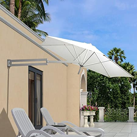 LJA Outdoor Parasol de Pared Parasol Balcón Vacaciones Jardín al Aire Libre Cantilever Sombrilla sombrilla inclinable con Poste de Metal (Color : White): Amazon.es: Hogar