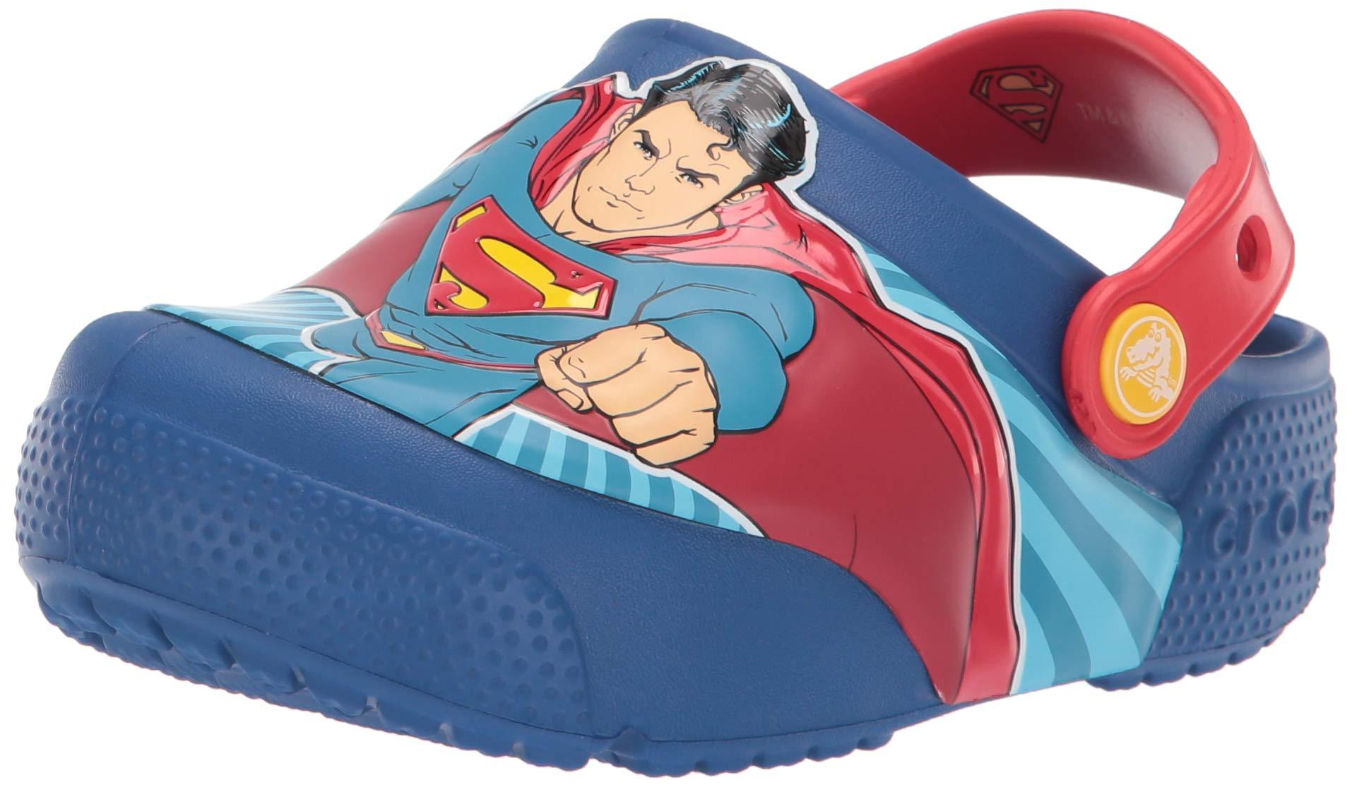 Crocs Kids' Fun Lab Superman Light-Up Clog, Blue Jean, 3 M US Little Kid