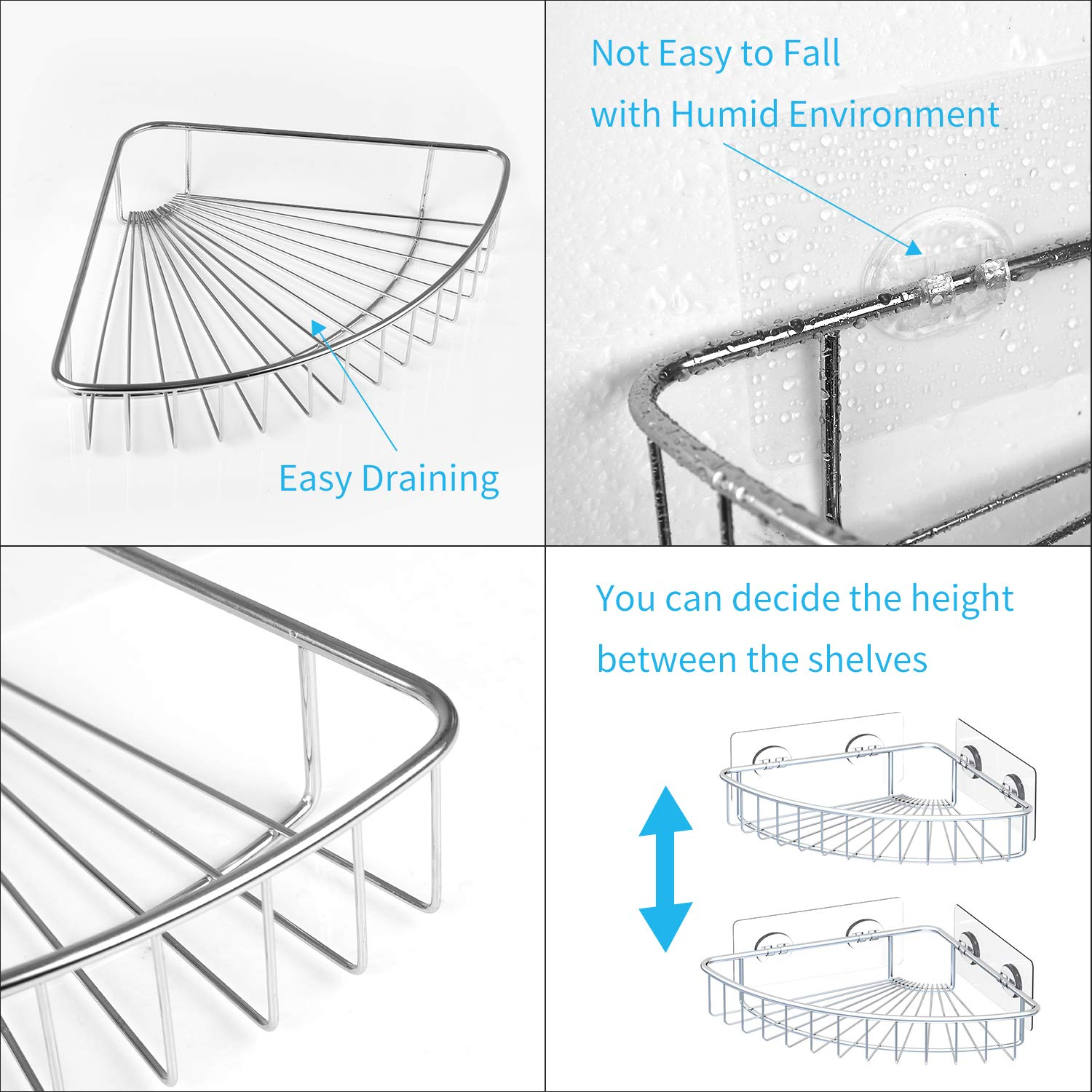 SMARTAKE 2-Pack Corner Shower Caddy, SUS304 Stainless Steel, Wall Mounted Bathroom Shelf with Adhesive, Storage Organizer for Toilet, Dorm and Kitchen by SMARTAKE (Image #4)