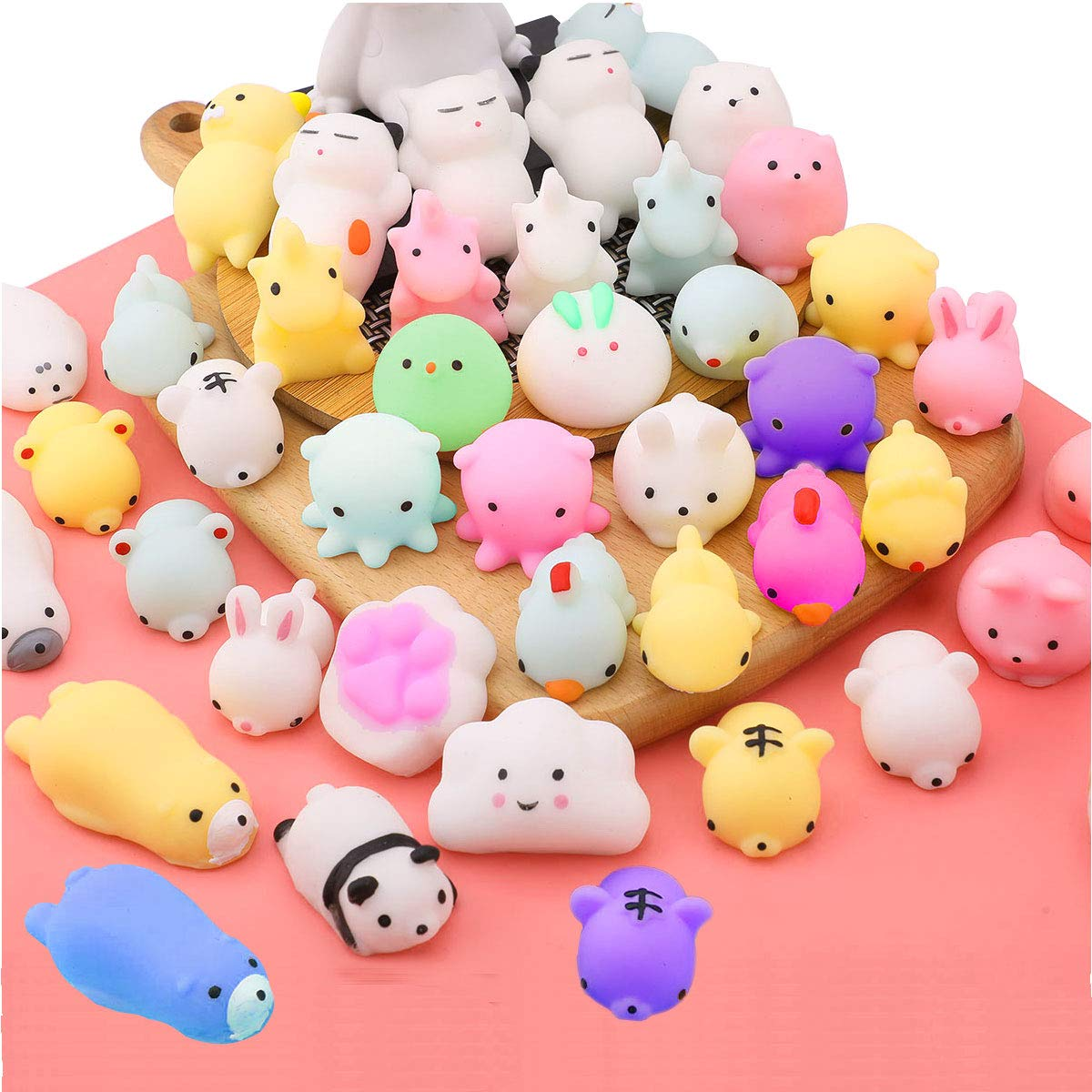 EVERICH TOY Stress Relief Toys Mochi Animals Squishy Toy Birthday Party Favors for Kids Mini Kawaii Squishies Animals Squeeze Toys by EVERICH TOY