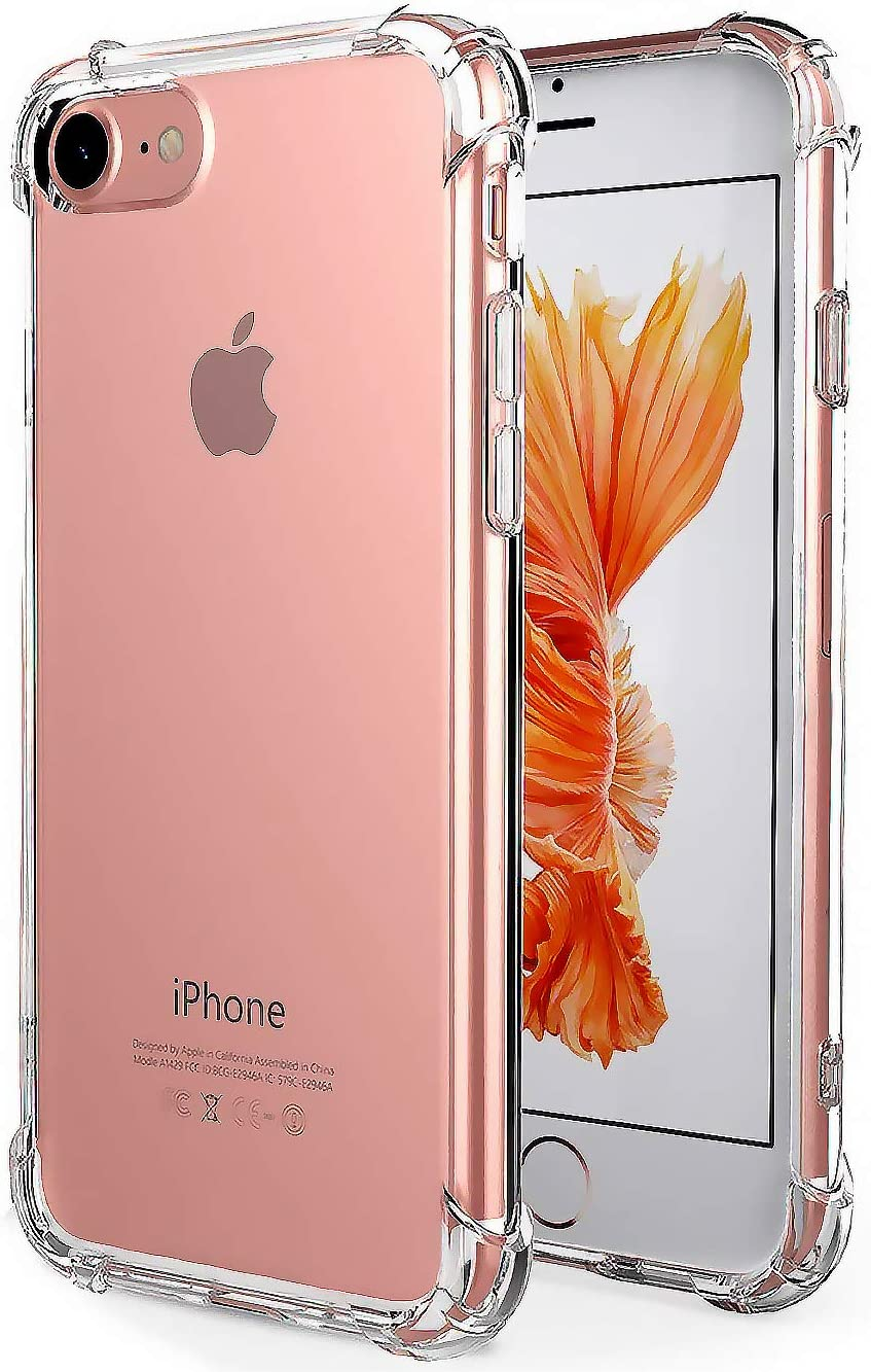 """iBarbe Premium Slim Fit Case for iPhone 7,iPhone 8, Crystal clear Perfect slim Fit Shockproof Protective Impact Resistant Anti-scratches Heavy Duty Protection TPU Bumper Cover for iPhone 7/8 4.7"""""""