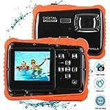 BYbrutek Fotocamera per Bambini, Videocamera 12MP HD Subacquea per Bambini con un'impeamebilità da 3M, LCD da 2 Pollici, Zoom Digitale 4x, Fotocamera Digitale CMOS da 5 MP (Nero)