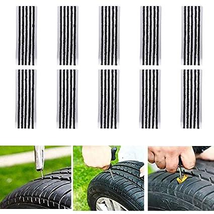 CICMOD 50 pcs Kits de Reparación de Neumáticos de Reparación de Neumáticos Cuerdas Clavijas de Reparación de Neumáticos para Coche Van Camión Moto 20 ...