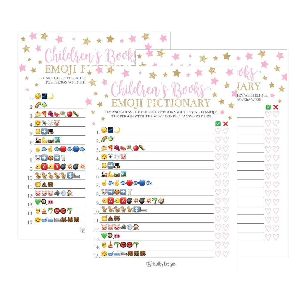 25 Pink Emoji Children's Books Pictionary Baby Shower Game Party Ideas For Quiz Girl, Kids, Men, Women and Couples, Cute Classic Bundle Pack Set, Gold Stars Gender Neutral Unisex Fun Coed Cards