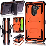 Alcatel A30 Fierce(2017)/Alcatel A30 Plus Walters Case,Heavy Duty Shockproof [Kickstand] [Belt Swivel Clip] Dual-Layer Full-Body Armor Rugged Protection Case With Built-in Screen Protector(Orange)