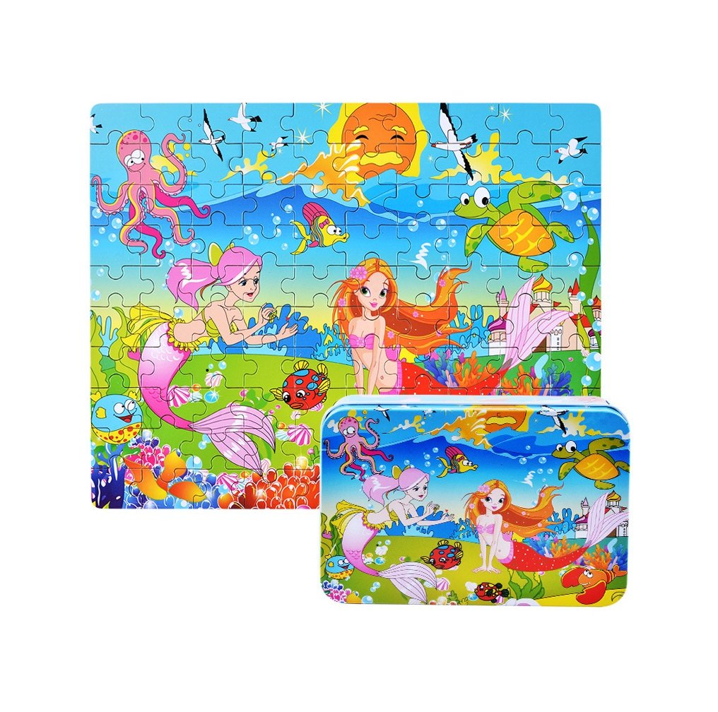 100 Pieces Kids Wooden Jigsaw Puzzle for toddlers 3-6 Ages, Kids Educational Puzzles Toys to Develop Dexterity and Problem Solving, with a Storage Box(Mermaid)