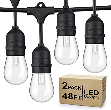 Amazon Com 2 Pack Dimmable Led Outdoor String Lights For Patio Daylight White Ip65 Waterproof Hanging Edison Bulbs Commercial Grade Lights String Create Ambience For Cafe Garden Backyard Party Total 96ft Garden